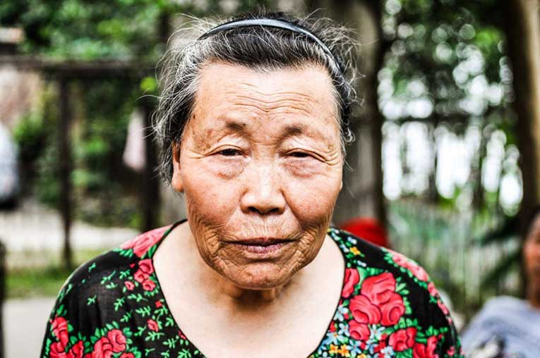 olden woman looking at the camera