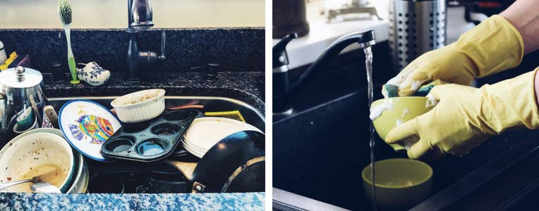 Photo: dirty sink next to someone cleaning dishes