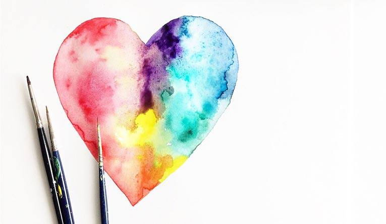 Photo: water color heart and brushes