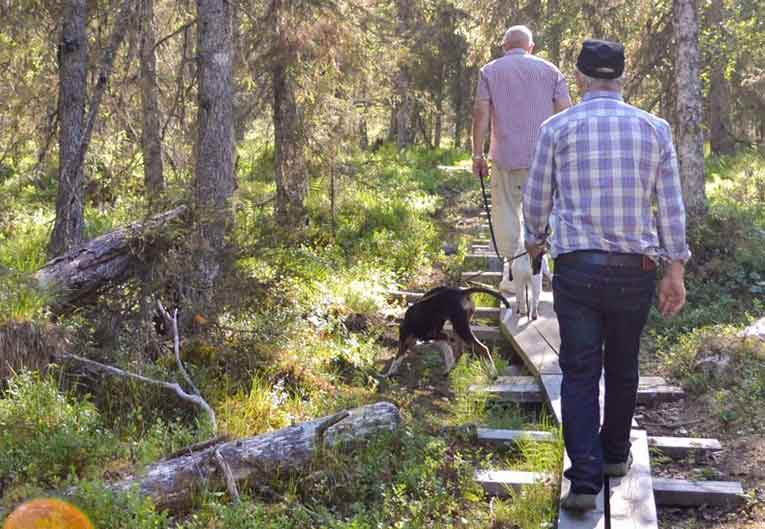 two men walking with dog