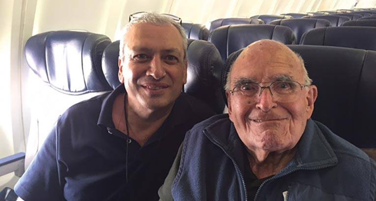 Frank and Merab on an airplane