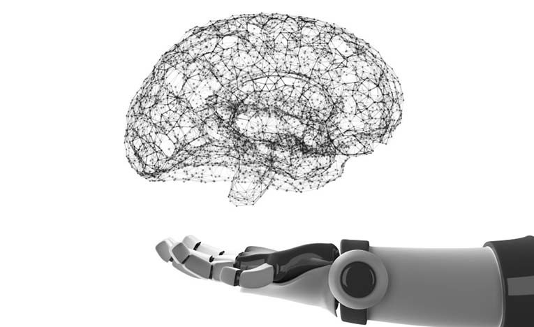Robot arm and brain over it