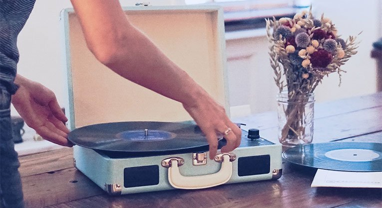 changing a record on a record player